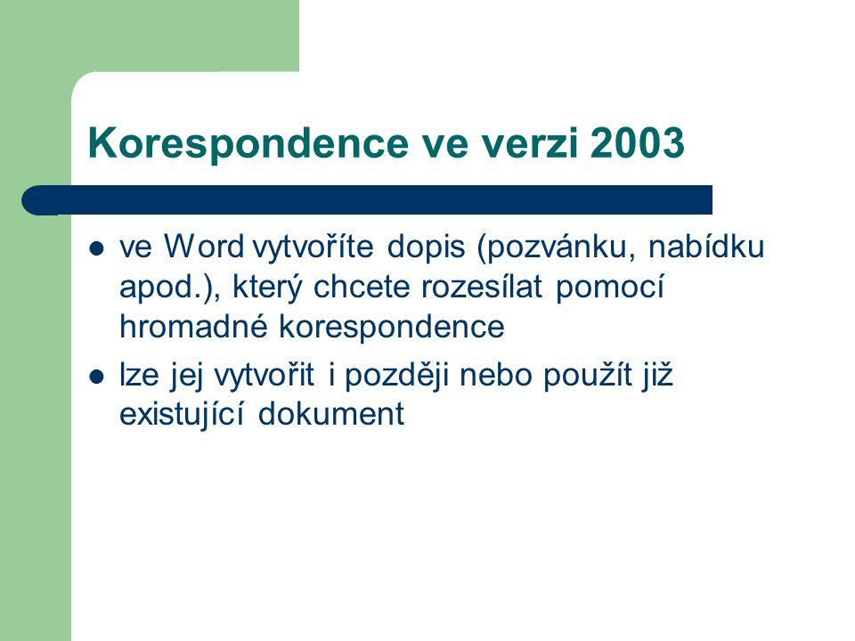 Korespondence ve verzi 2003 ve Word vytvoříte dopis (pozvánku, nabídku apod.), který chcete rozesílat pomocí hromadné korespondence lze jej vytvořit i