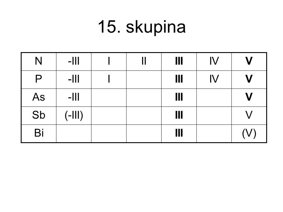 15. skupina N-IIIIIIIIIIVV P-IIIIIIIIVV As-IIIIIIV Sb(-III)IIIV BiIII(V)