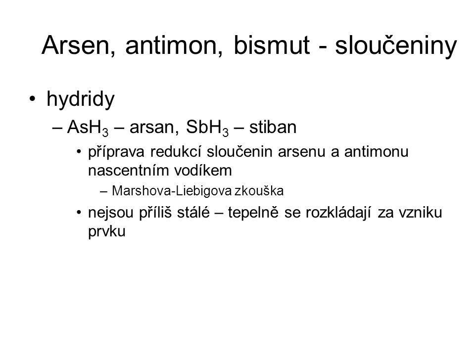 Arsen, antimon, bismut - sloučeniny hydridy –AsH 3 – arsan, SbH 3 – stiban příprava redukcí sloučenin arsenu a antimonu nascentním vodíkem –Marshova-L