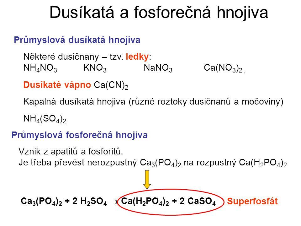 Dusíkatá a fosforečná hnojiva Průmyslová dusíkatá hnojiva Průmyslová fosforečná hnojiva Některé dusičnany – tzv. ledky: NH 4 NO 3 KNO 3 NaNO 3 Ca(NO 3