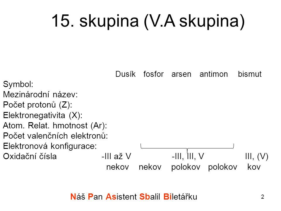 15. skupina (V.A skupina) Dusíkfosforarsenantimon bismut Symbol: Mezinárodní název: Počet protonů (Z): Elektronegativita (X): Atom. Relat. hmotnost (A