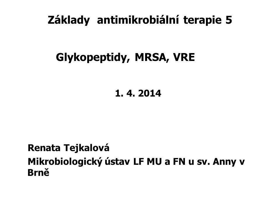 Základy antimikrobiální terapie 5 Glykopeptidy, MRSA, VRE 1. 4. 2014 Renata Tejkalová Mikrobiologický ústav LF MU a FN u sv. Anny v Brně