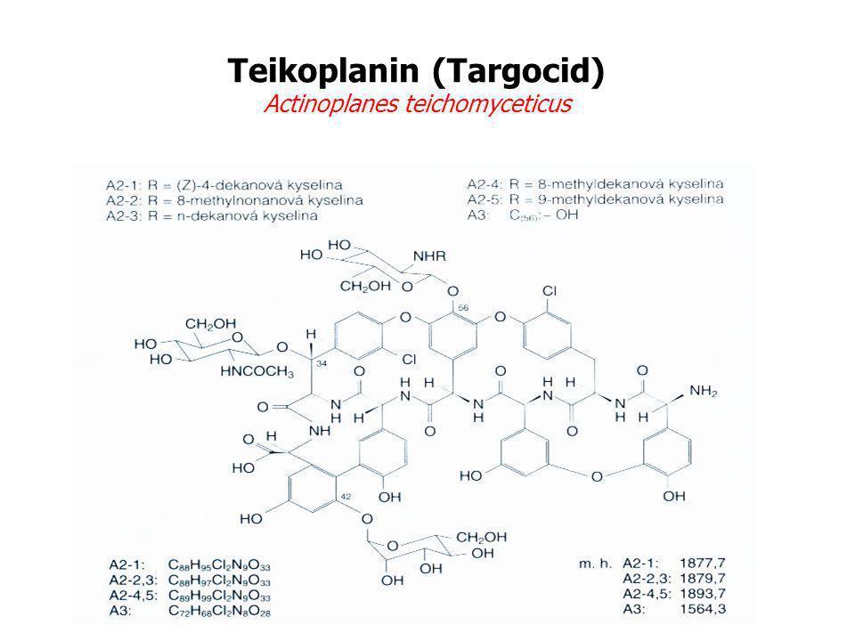 Teikoplanin (Targocid) Actinoplanes teichomyceticus