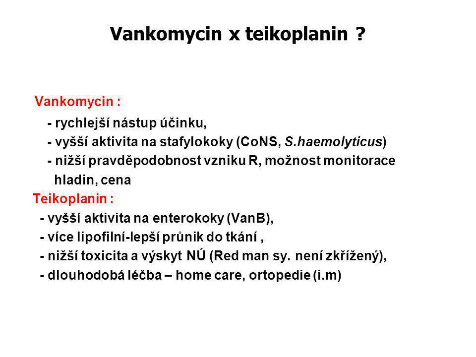 Vankomycin x teikoplanin ? Vankomycin : - rychlejší nástup účinku, - vyšší aktivita na stafylokoky (CoNS, S.haemolyticus) - nižší pravděpodobnost vzni