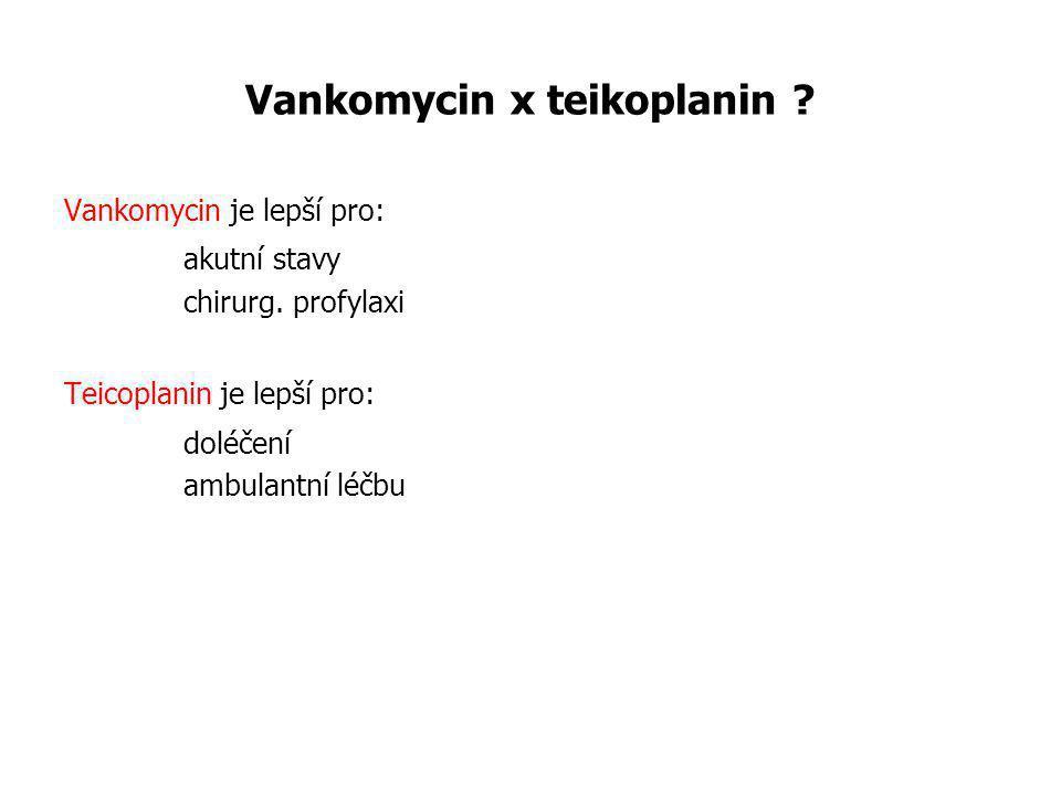 Vankomycin x teikoplanin ? Vankomycin je lepší pro: akutní stavy chirurg. profylaxi Teicoplanin je lepší pro: doléčení ambulantní léčbu