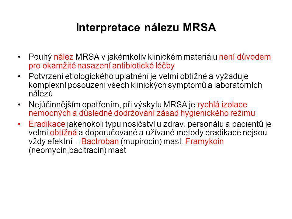 Interpretace nálezu MRSA Pouhý nález MRSA v jakémkoliv klinickém materiálu není důvodem pro okamžité nasazení antibiotické léčby Potvrzení etiologické
