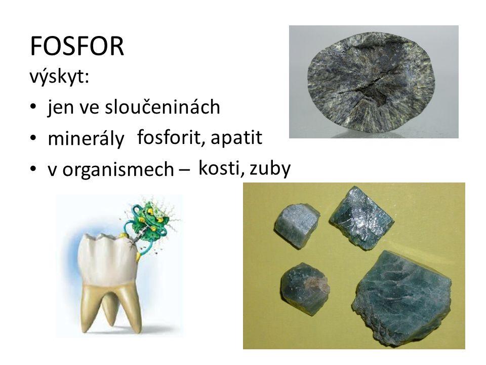 FOSFOR výskyt: jen ve sloučeninách minerály v organismech – fosforit, apatit kosti, zuby