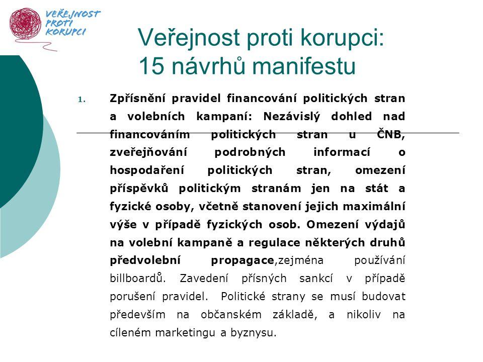 Veřejnost proti korupci: 15 návrhů manifestu 1.