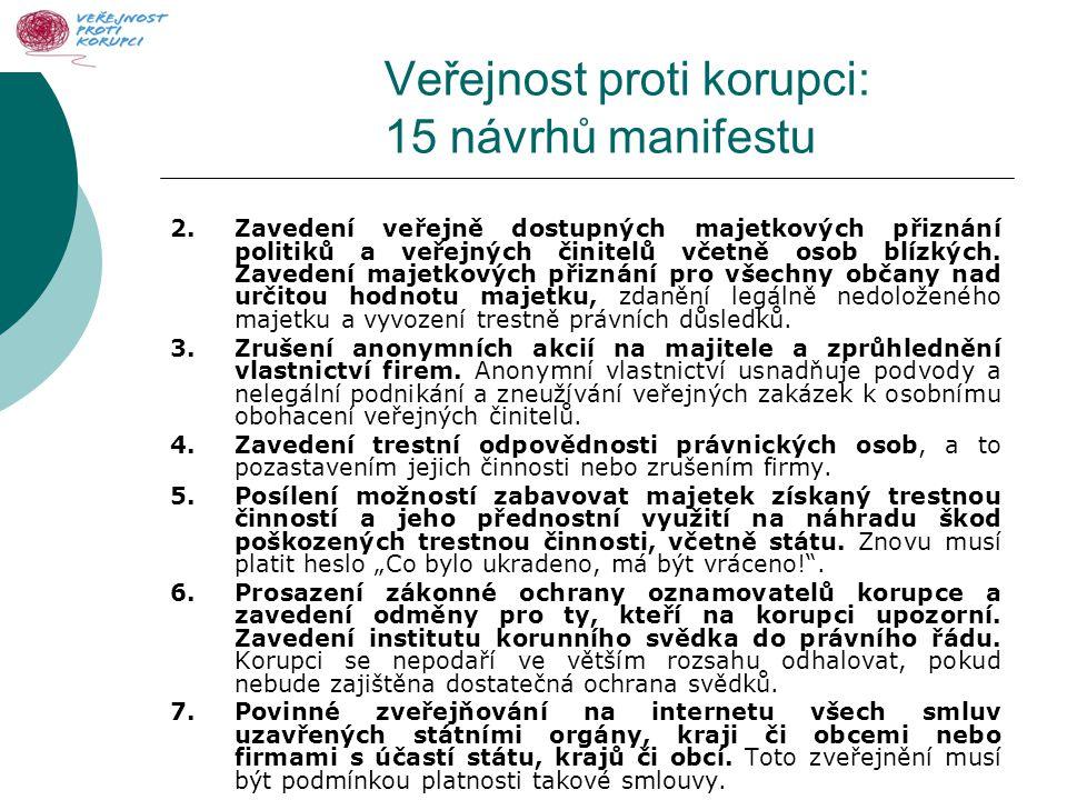 Veřejnost proti korupci: 15 návrhů manifestu 2.