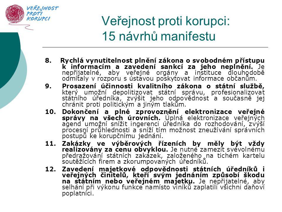 Veřejnost proti korupci: 15 návrhů manifestu 8.