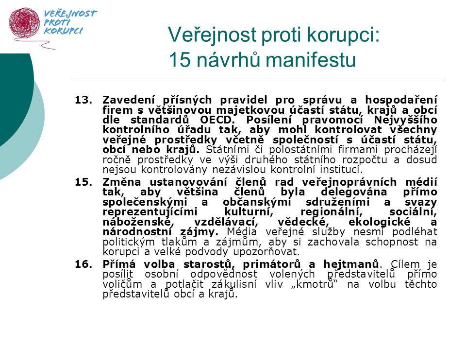 Veřejnost proti korupci: 15 návrhů manifestu 13.Zavedení přísných pravidel pro správu a hospodaření firem s většinovou majetkovou účastí státu, krajů a obcí dle standardů OECD.