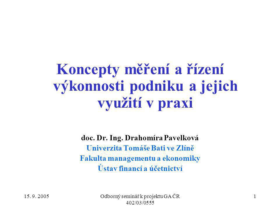 15. 9. 2005Odborný seminář k projektu GA ČR 402/03/0555 1 Koncepty měření a řízení výkonnosti podniku a jejich využití v praxi doc. Dr. Ing. Drahomíra