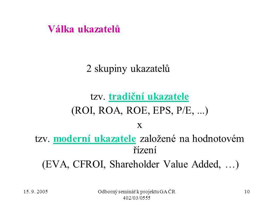 15. 9. 2005Odborný seminář k projektu GA ČR 402/03/0555 10 Válka ukazatelů 2 skupiny ukazatelů tzv. tradiční ukazatele (ROI, ROA, ROE, EPS, P/E,...) x