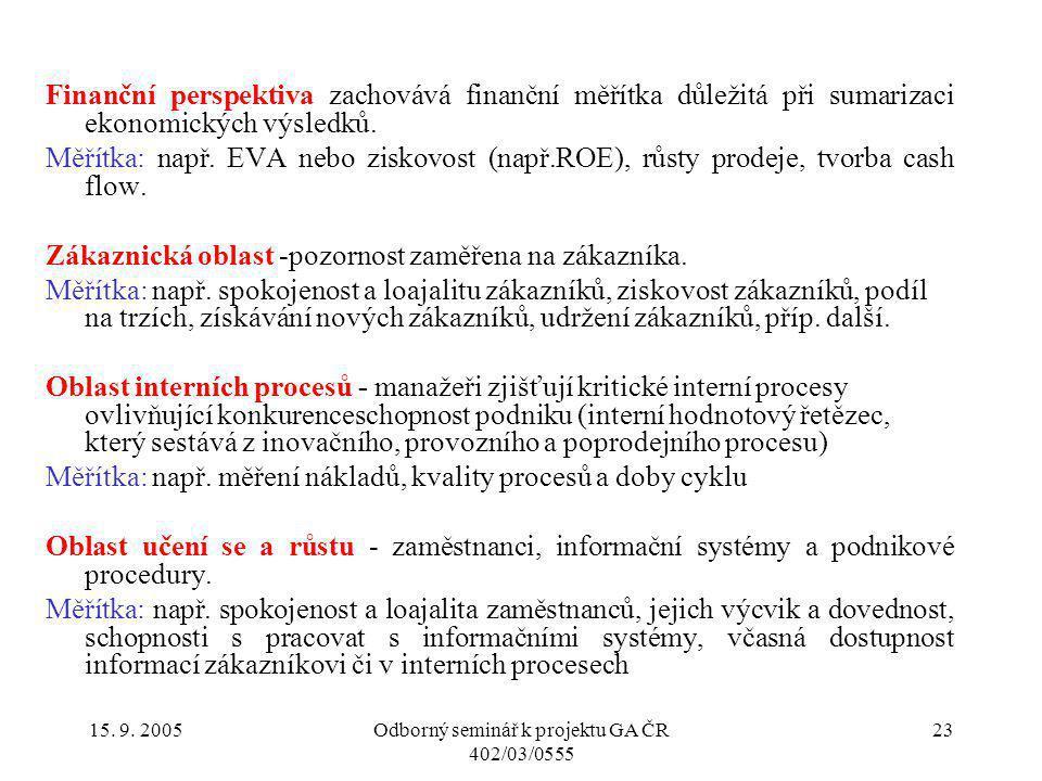 15. 9. 2005Odborný seminář k projektu GA ČR 402/03/0555 23 Finanční perspektiva zachovává finanční měřítka důležitá při sumarizaci ekonomických výsled