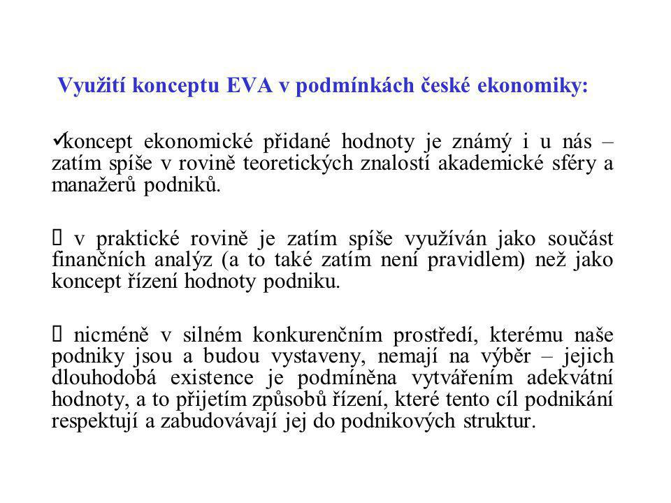 Využití konceptu EVA v podmínkách české ekonomiky: koncept ekonomické přidané hodnoty je známý i u nás – zatím spíše v rovině teoretických znalostí ak