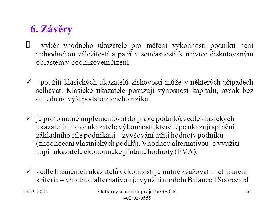 15. 9. 2005Odborný seminář k projektu GA ČR 402/03/0555 26 6. Závěry výběr vhodného ukazatele pro měření výkonnosti podniku není jednoduchou záležitos