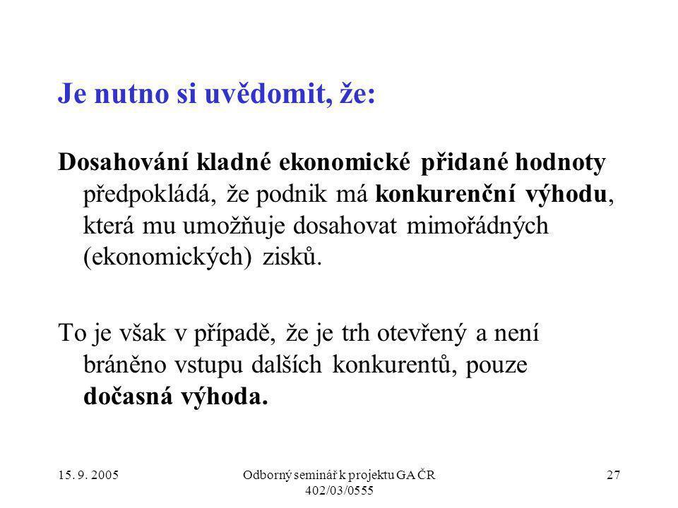 15. 9. 2005Odborný seminář k projektu GA ČR 402/03/0555 27 Je nutno si uvědomit, že: Dosahování kladné ekonomické přidané hodnoty předpokládá, že podn