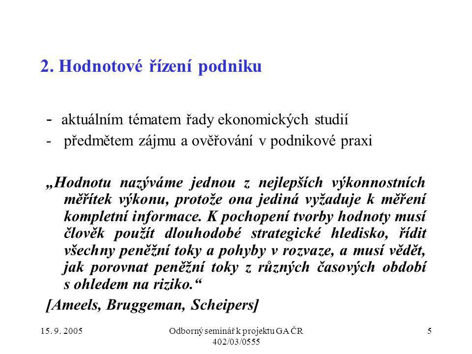 15.9. 2005Odborný seminář k projektu GA ČR 402/03/0555 26 6.