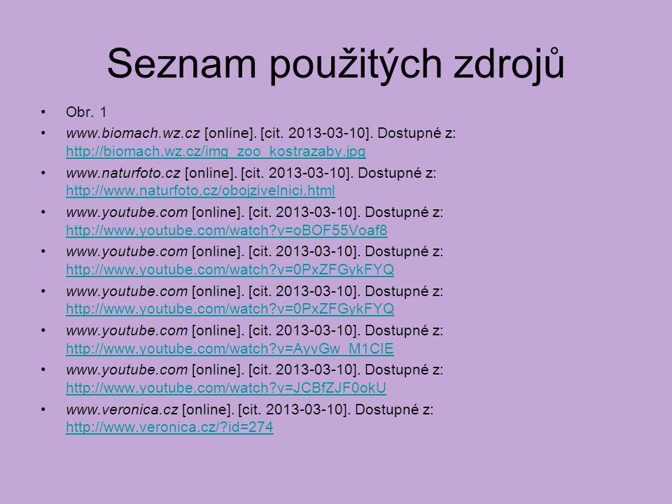 Seznam použitých zdrojů Obr. 1 www.biomach.wz.cz [online]. [cit. 2013-03-10]. Dostupné z: http://biomach.wz.cz/img_zoo_kostrazaby.jpg http://biomach.w