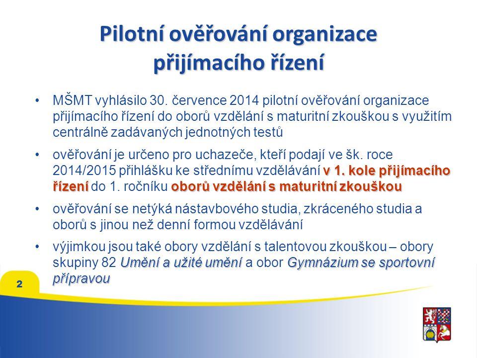 Pilotní ověřování organizace přijímacího řízení MŠMT vyhlásilo 30.