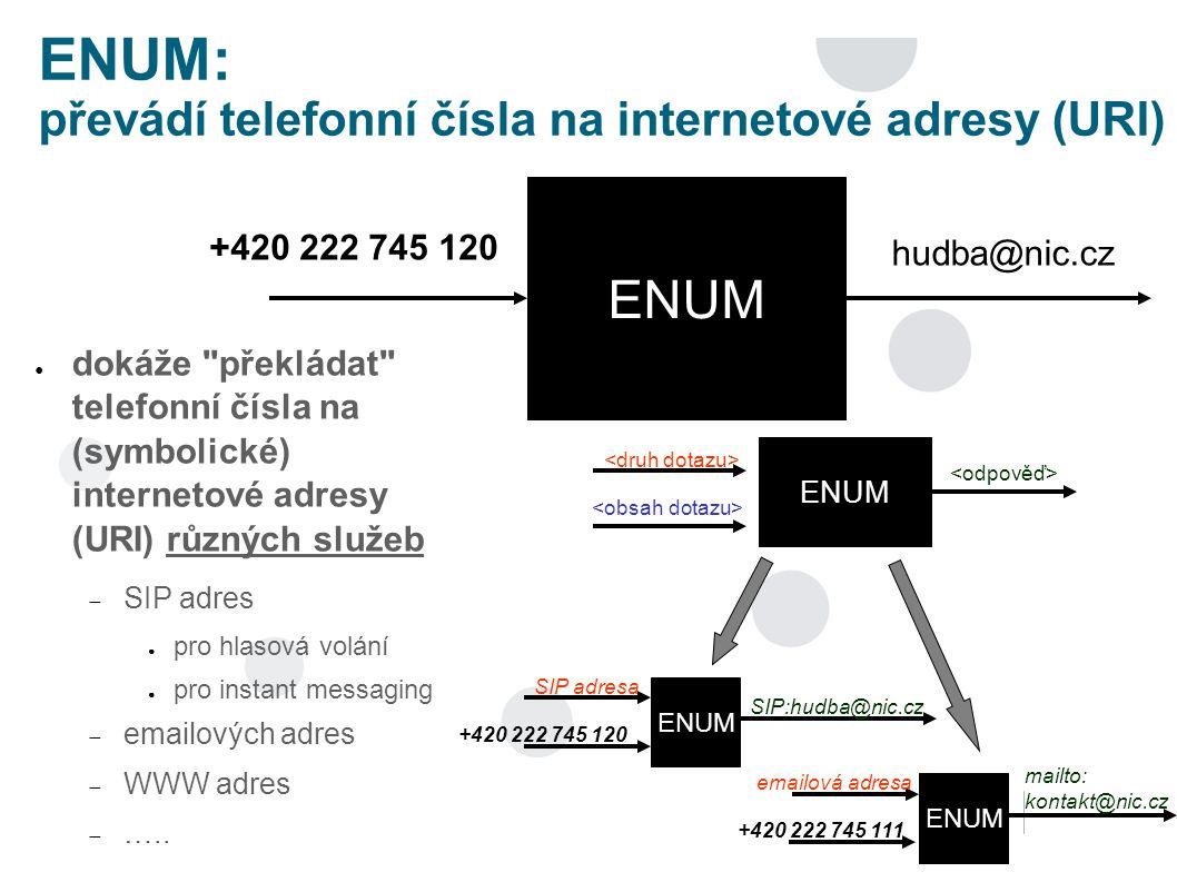 ENUM: převádí telefonní čísla na internetové adresy (URI) ● dokáže