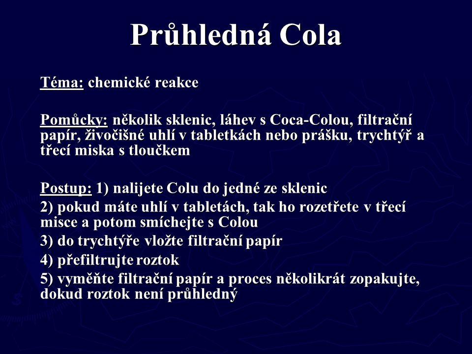 Průhledná Cola Téma: chemické reakce Pomůcky: několik sklenic, láhev s Coca-Colou, filtrační papír, živočišné uhlí v tabletkách nebo prášku, trychtýř