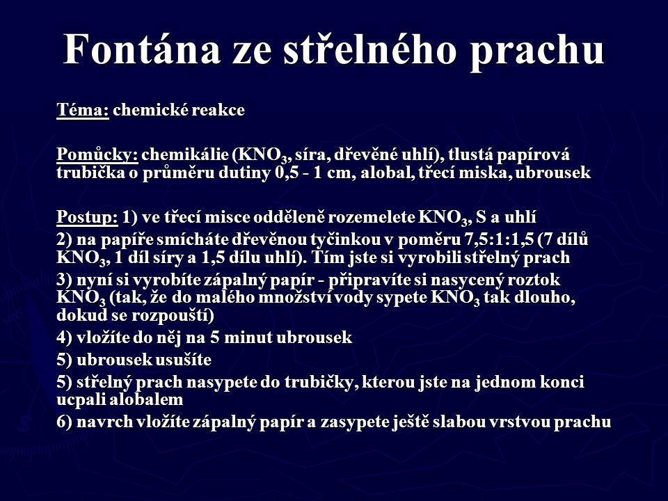 Fontána ze střelného prachu Téma: chemické reakce Pomůcky: chemikálie (KNO 3, síra, dřevěné uhlí), tlustá papírová trubička o průměru dutiny 0,5 - 1 c