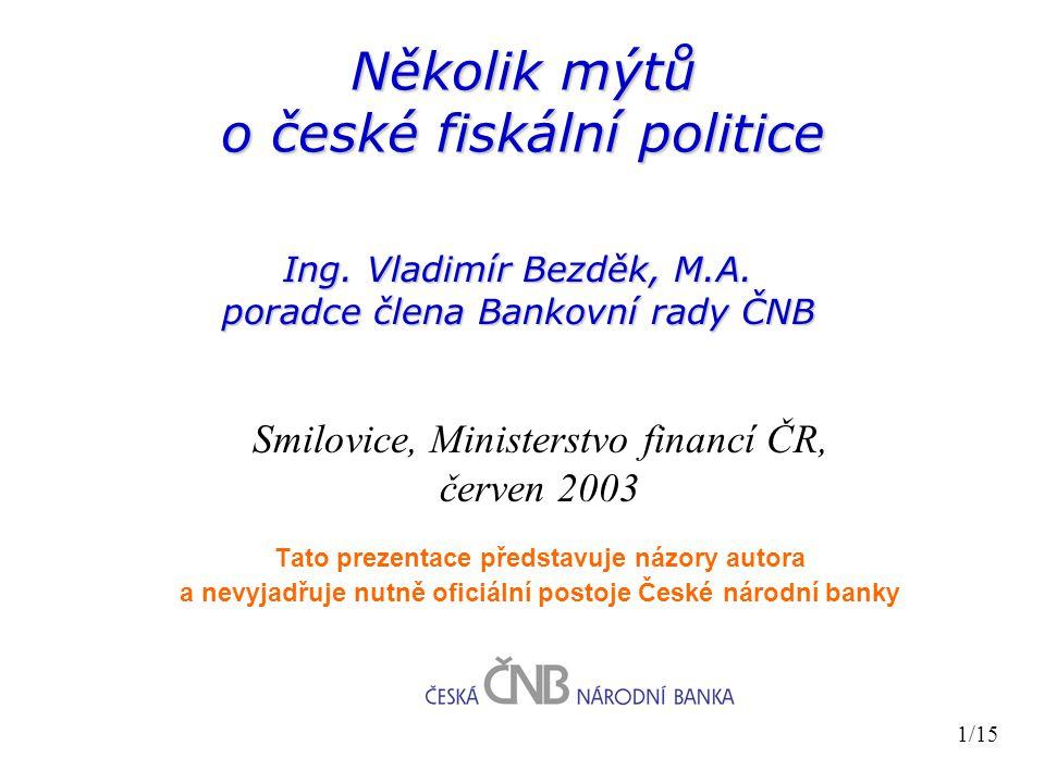Několik mýtů o české fiskální politice Ing. Vladimír Bezděk, M.A.