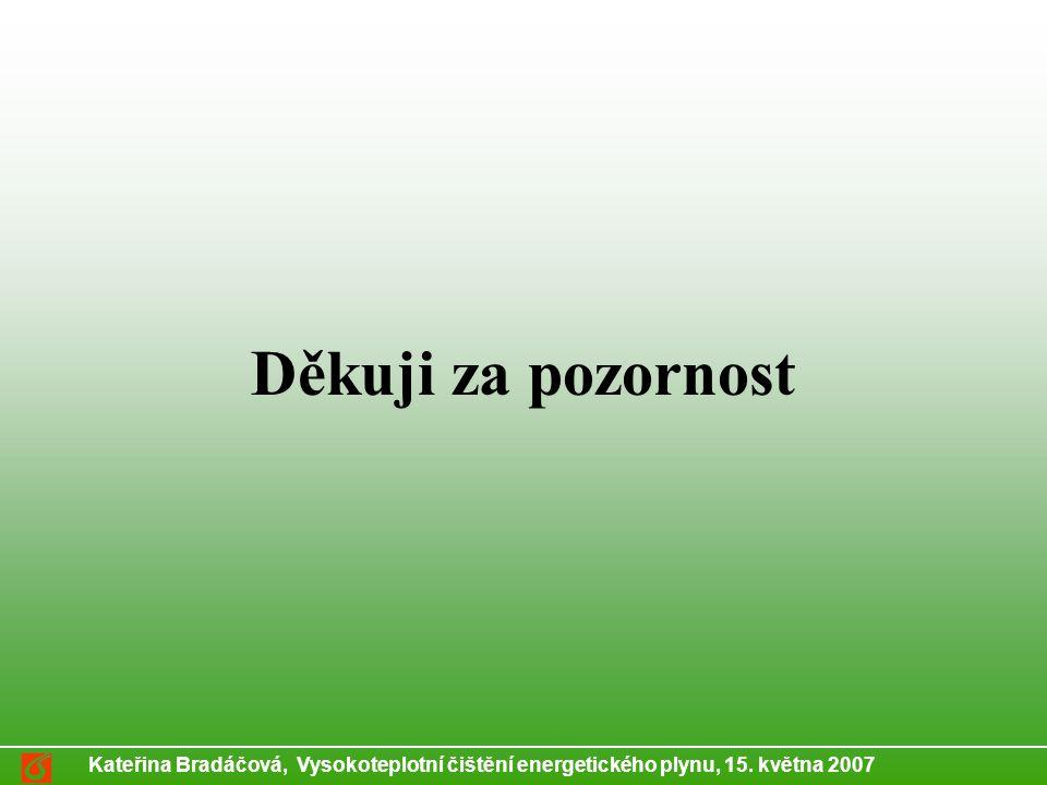 Kateřina Bradáčová, Vysokoteplotní čištění energetického plynu, 15. května 2007 Děkuji za pozornost