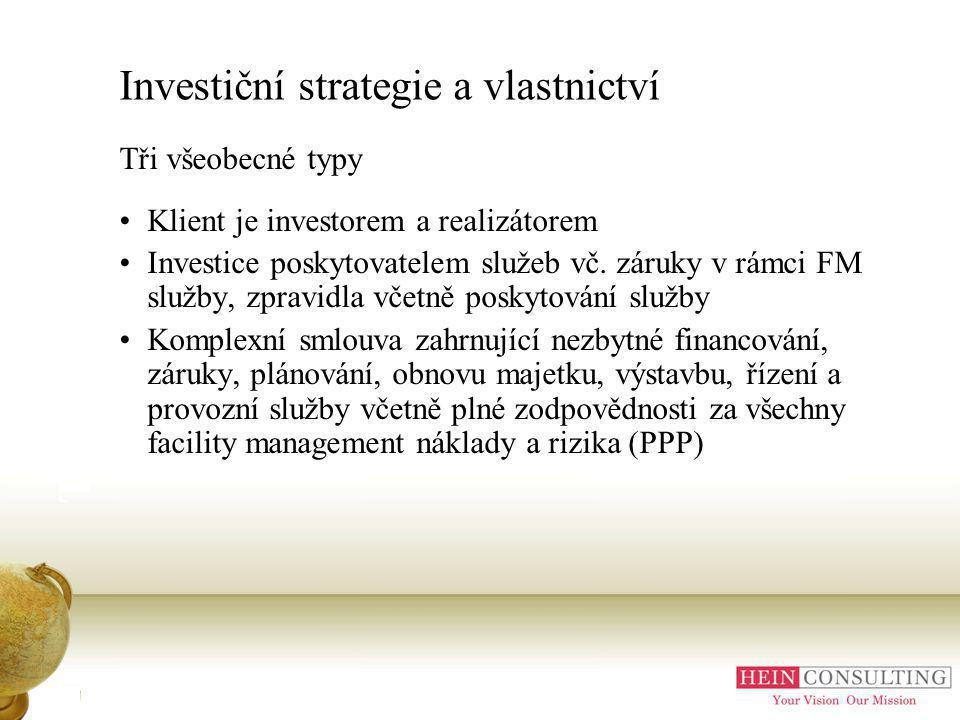 Investiční strategie a vlastnictví Tři všeobecné typy Klient je investorem a realizátorem Investice poskytovatelem služeb vč.