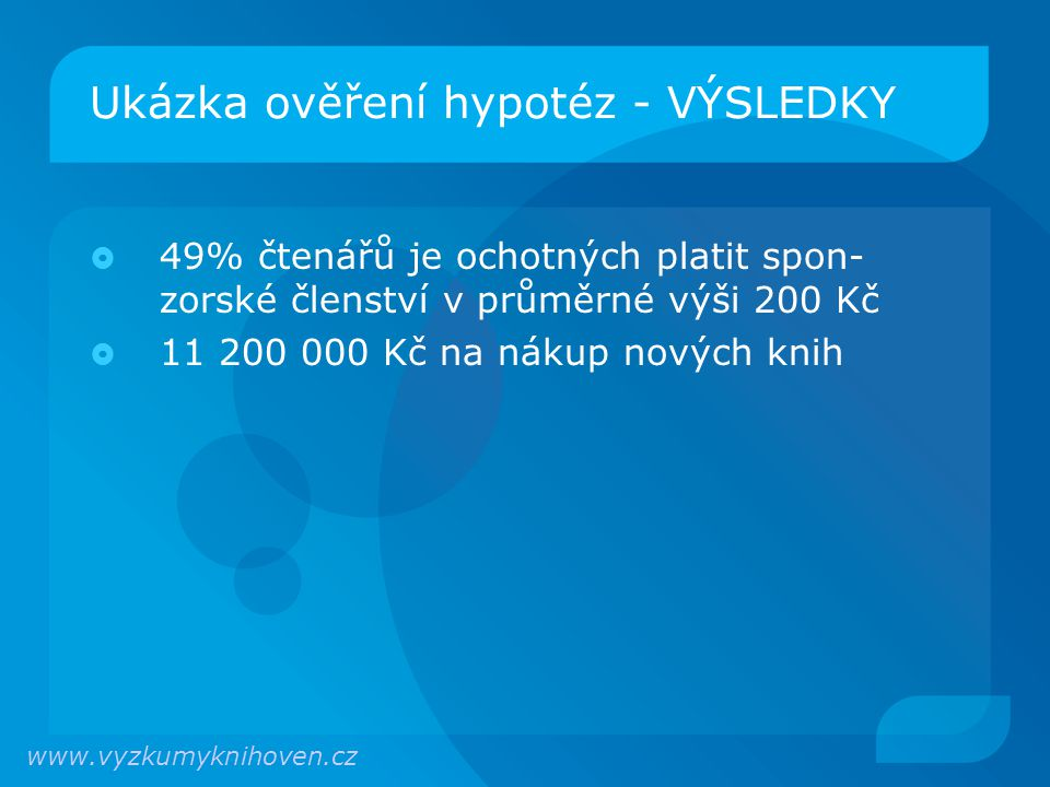 Ukázka ověření hypotéz - VÝSLEDKY  49% čtenářů je ochotných platit spon- zorské členství v průměrné výši 200 Kč  11 200 000 Kč na nákup nových knih www.vyzkumyknihoven.cz