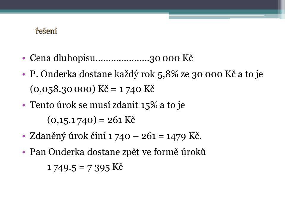 Cena dluhopisu…………………30 000 Kč P.