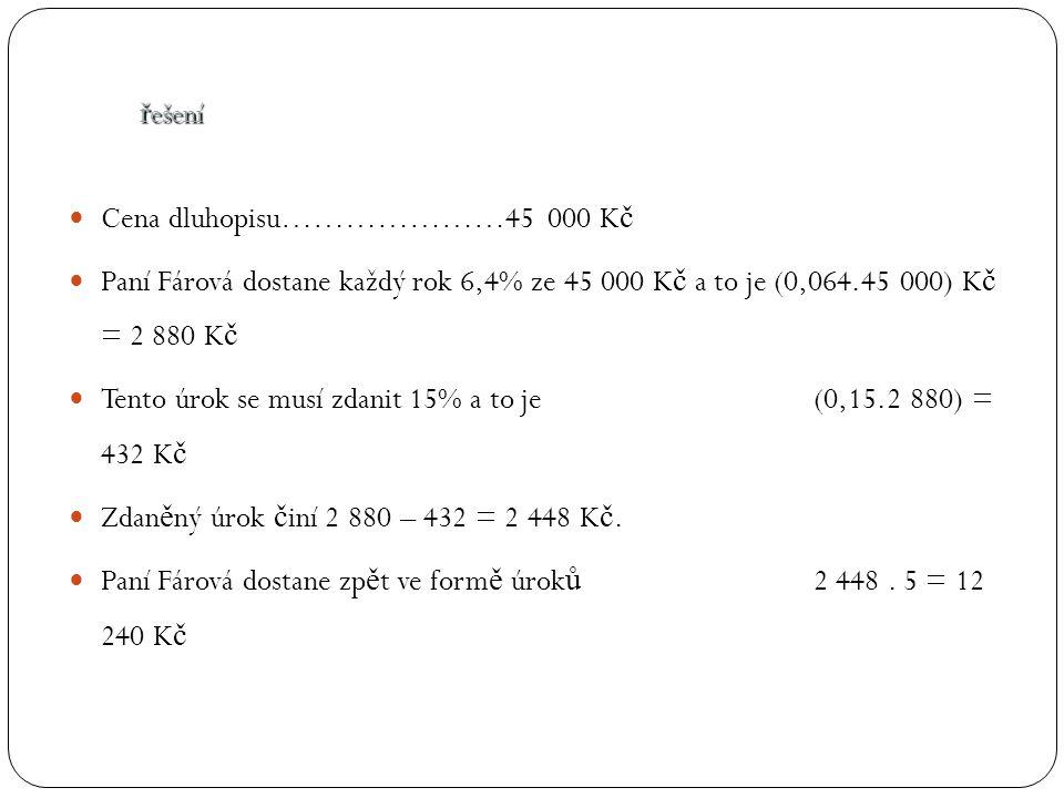 Cena dluhopisu…………………45 000 K č Paní Fárová dostane každý rok 6,4% ze 45 000 K č a to je (0,064.45 000) K č = 2 880 K č Tento úrok se musí zdanit 15% a to je (0,15.2 880) = 432 K č Zdan ě ný úrok č iní 2 880 – 432 = 2 448 K č.