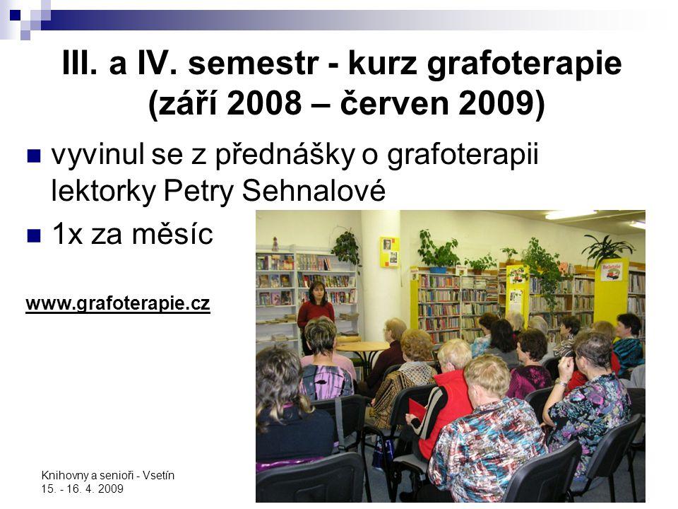 Knihovny a senioři - Vsetín 15. - 16. 4. 2009 III. a IV. semestr - kurz grafoterapie (září 2008 – červen 2009) vyvinul se z přednášky o grafoterapii l