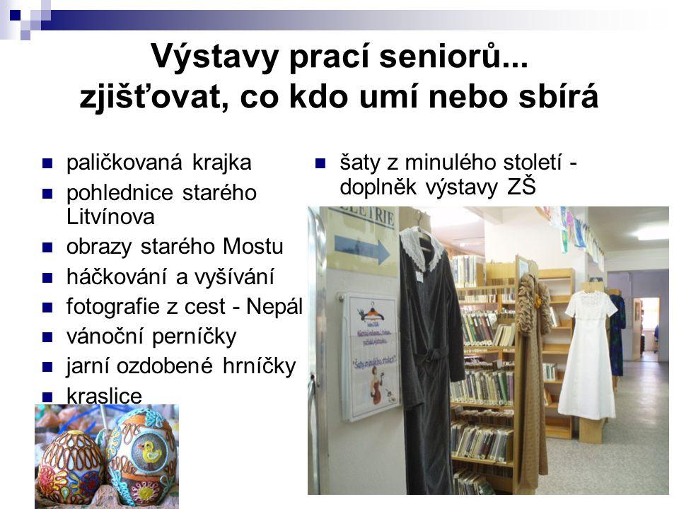 Knihovny a senioři - Vsetín 15. - 16. 4. 2009 Výstavy prací seniorů... zjišťovat, co kdo umí nebo sbírá paličkovaná krajka pohlednice starého Litvínov