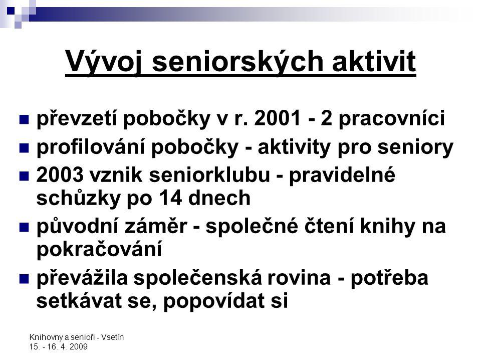 Knihovny a senioři - Vsetín 15. - 16. 4. 2009 Vývoj seniorských aktivit převzetí pobočky v r. 2001 - 2 pracovníci profilování pobočky - aktivity pro s