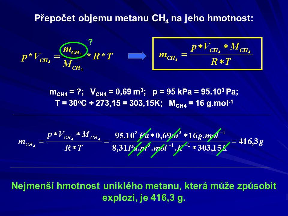 Nejmenší hmotnost uniklého metanu, která může způsobit explozi, je 416,3 g.