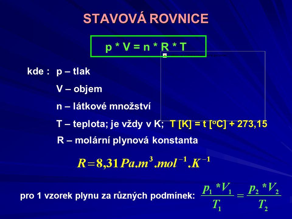 STAVOVÁ ROVNICE p * V = n * R * T kde :p – tlak V – objem n – látkové množství T – teplota; je vždy v K; T [K] = t [ o C] + 273,15 pro 1 vzorek plynu za různých podmínek: R – molární plynová konstanta