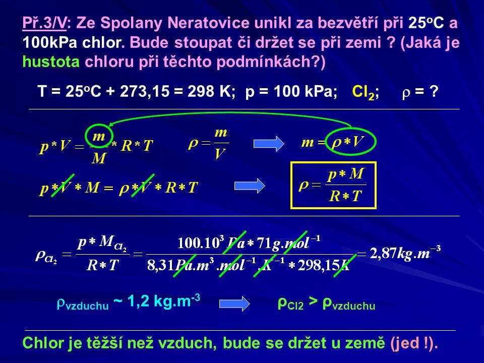 Př.3/V: Ze Spolany Neratovice unikl za bezvětří při 25 o C a 100kPa chlor.