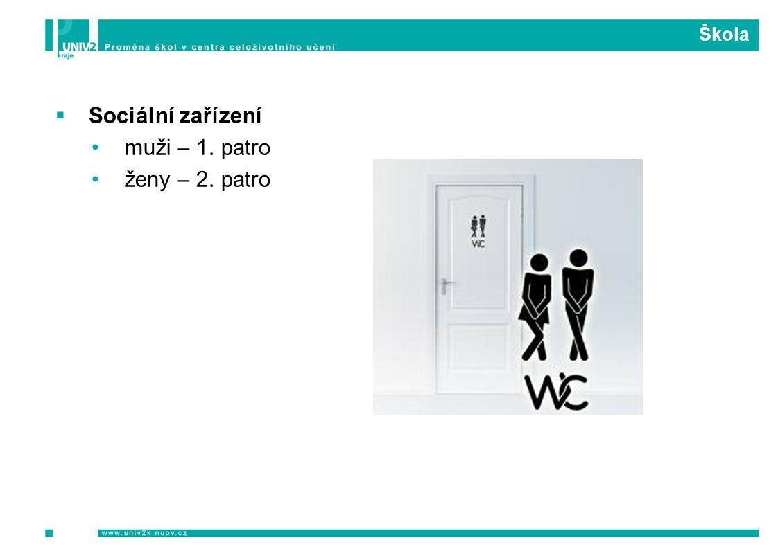 Škola  Sociální zařízení muži – 1. patro ženy – 2. patro