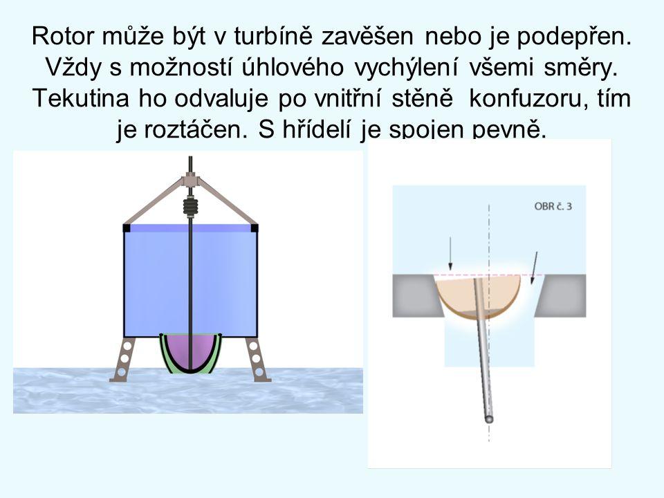 Rotor může být v turbíně zavěšen nebo je podepřen. Vždy s možností úhlového vychýlení všemi směry. Tekutina ho odvaluje po vnitřní stěně konfuzoru, tí