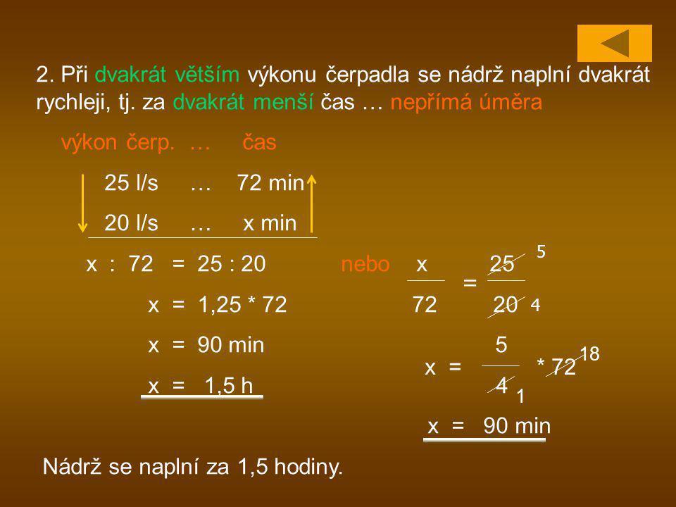 2. Při dvakrát větším výkonu čerpadla se nádrž naplní dvakrát rychleji, tj. za dvakrát menší čas … nepřímá úměra výkon čerp. … čas 25 l/s … 72 min 20