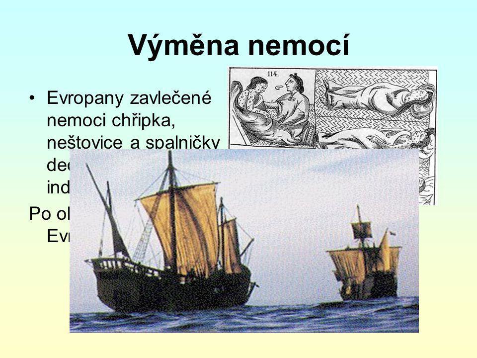 Výměna nemocí Evropany zavlečené nemoci chřipka, neštovice a spalničky decimovaly indiánskou populaci Po objevení Ameriky- v Evropě výskyt sifilis