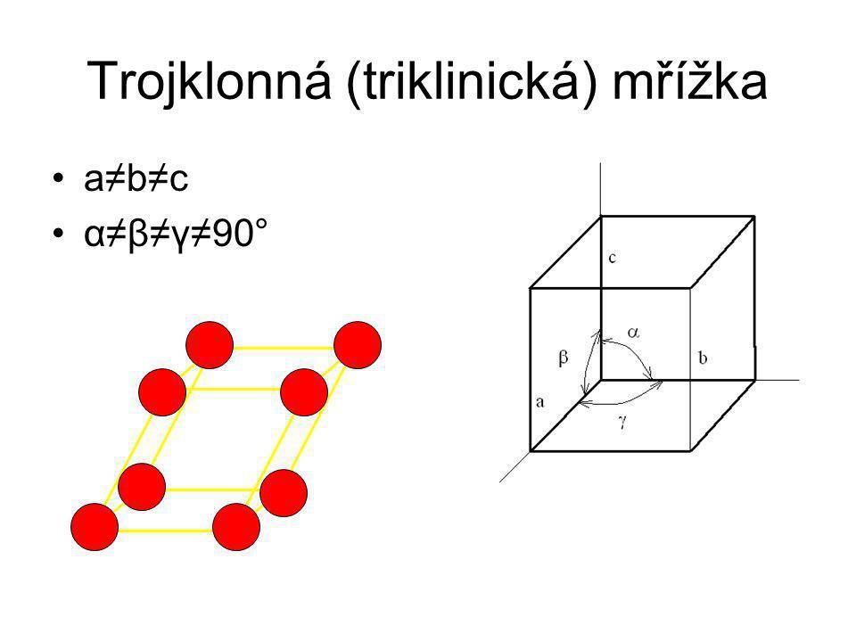 Jednoklonná (monoklinická) mřížka a≠b≠c α = β =90°≠γ Prostá a bazálně středěná