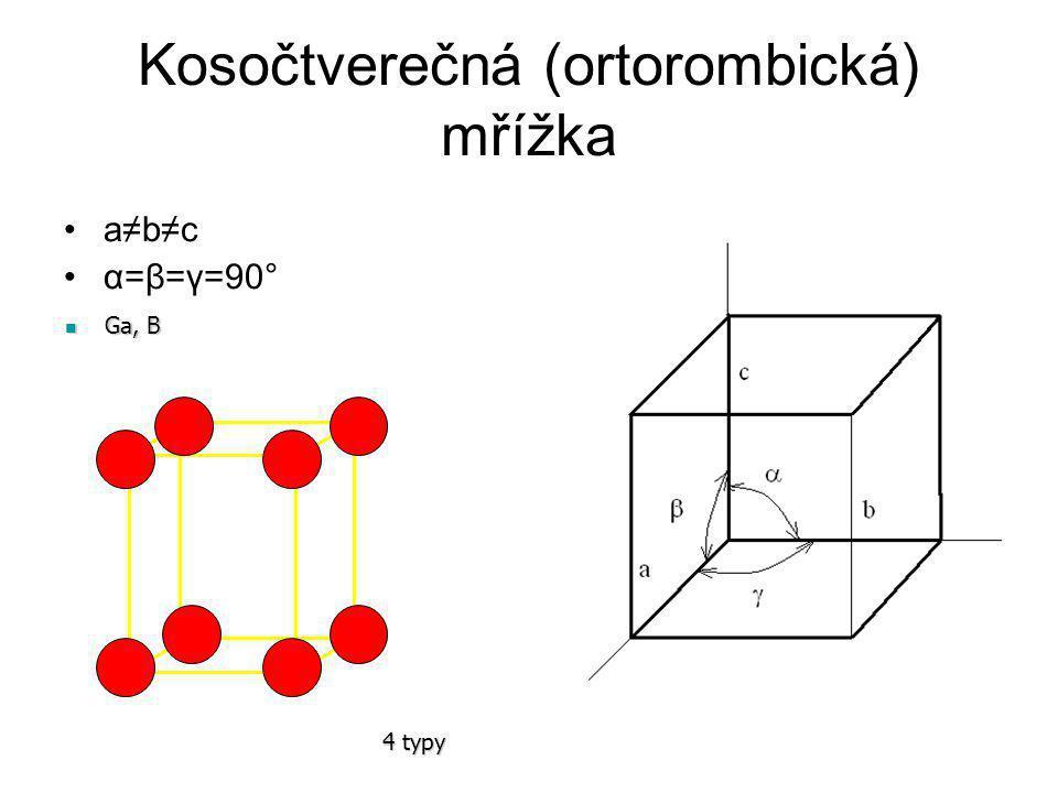 Čtverečná (tetragonální) mřížka a=b≠c α=β=γ=90° In, Sn In, Sn http://www.webelements.com/webeleme nts/elements/text/Sn/xtal-pdb.html http://www.webelements.com/webeleme nts/elements/text/Sn/xtal-pdb.html Prostá a prostorově středěná