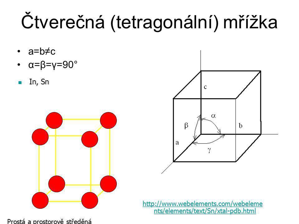 Trigonální (romboedrická) mřížka a=b=c 120°>α=β=γ≠90° As, Sb, Bi As, Sb, Bi http://www.webelements.com/webele ments/elements/text/Sb/xtal- pdb.html http://www.webelements.com/webele ments/elements/text/Sb/xtal- pdb.htmlprostá