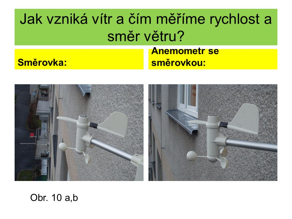 Jak vzniká vítr a čím měříme rychlost a směr větru? Směrovka: Anemometr se směrovkou: Obr. 10 a,b