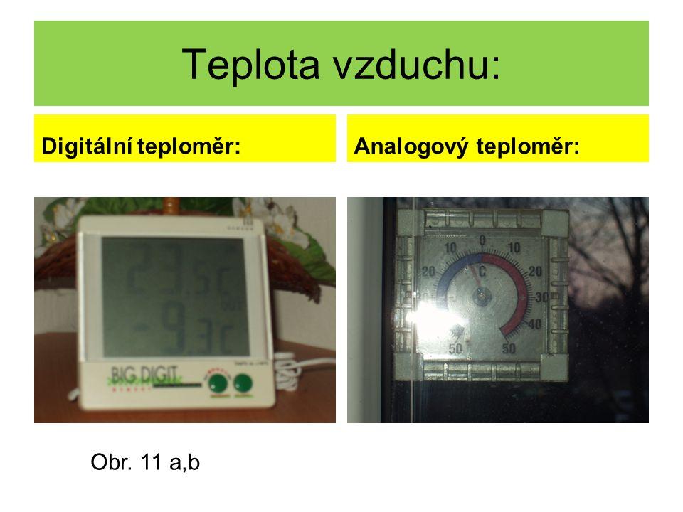 Teplota vzduchu: Digitální teploměr:Analogový teploměr: Obr. 11 a,b