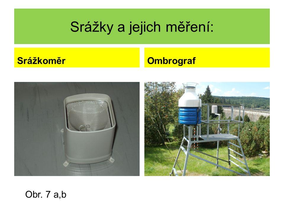 Srážky a jejich měření: SrážkoměrOmbrograf Obr. 7 a,b