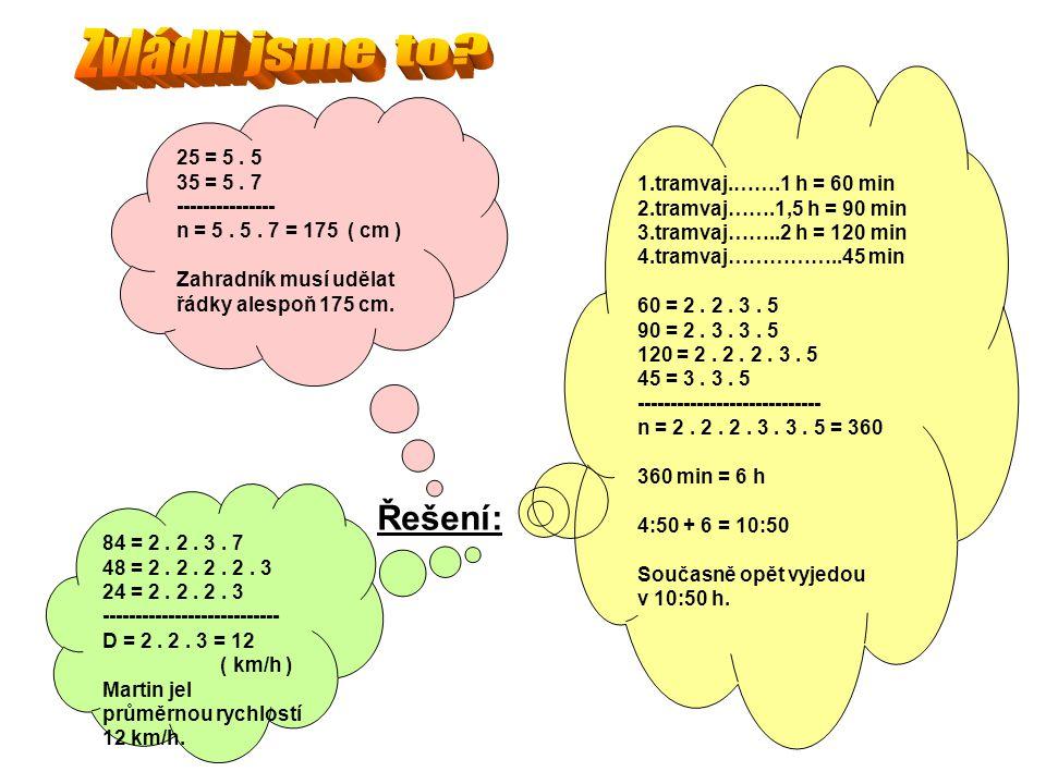Řešení: 25 = 5. 5 35 = 5. 7 --------------- n = 5. 5. 7 = 175 ( cm ) Zahradník musí udělat řádky alespoň 175 cm. 84 = 2. 2. 3. 7 48 = 2. 2. 2. 2. 3 24